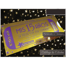 Estuche Metalizado Oro Con Violeta Brillante 15 Años
