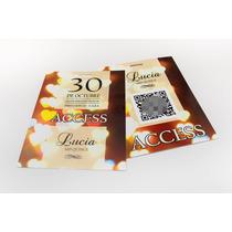 Invitaciones 15 Años - Acceso Vip Con Mensaje En Qrcode