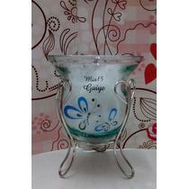 Souvenirs Mates De Vidrio Con Soporte 15 Años Ceramica