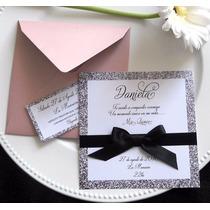Tarjeta Glitter Invitacion Sobre Especial Casamiento 15 Años