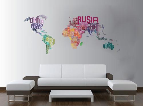 Vinilo pared planisferio letras color 2 decoracion 1408 2 for Precios vinilos decorativos