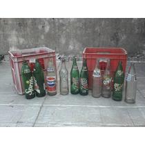 Diez Botellas De Gaseosas En Vidrio Y Dos Cajones