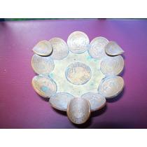 Cenicero Realizado Con Monedas Mexicanas Bronce
