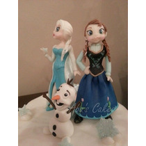 Adorno Para Torta, Frozen 3 Personajes Porcelana Fria