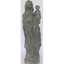 Estatua Antigüa. Virgen Con Niño. Circa 1300