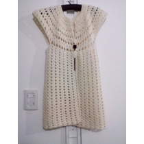Chaleco De Lana Marfil - Artesanal - Crochet - Nuevo -