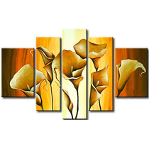 Cuadros Tripticos, Modernos, Florales Texturados, En Tela