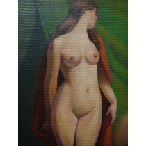 Hermoso Desnudo Firmado Garrido, Oleo Carton, 22 X 39 Aprox