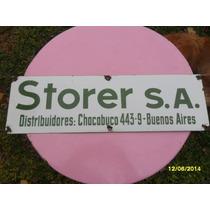 Antiguo Cartel Enlozado Storer S. A. Distribuidores