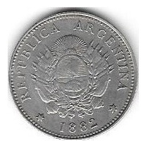 20 Centavos De Patacon 1882 Variante 2 Elevado