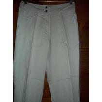 Pantalon Tiro Bien Alto Gabardina T 46 Color Cemento Verdoso