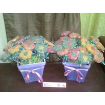 2 Golosineros De 25 Flores De Gomitas Con Maceta