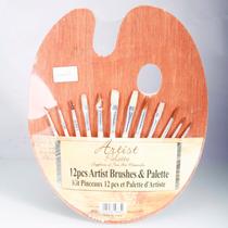 Kit 12 Pinceles +12 Acrilicos+ Paleta Artistica Pintura Arte