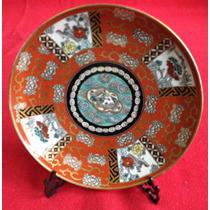Plato Oriental Porcelana Tsuji Pintado A Mano Oro 24 Kts