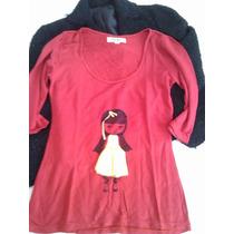 Remera Materia Spandex Algodon Rojo Negro Las Oreiro Oferta