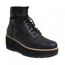 Clippate Borcegos Plataforma Acordonados Zapatos Mujer Cuero