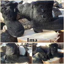 Bota Tejida Al Crochet Con Solapa.