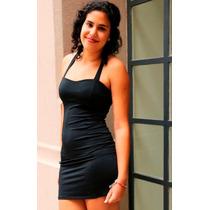 Hermoso Vestido De Fiesta Negro De Lycra Y Suplex!