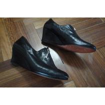 Zapatos Con Taco Chino Y Cierre 100% Cuero Nº 38