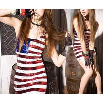 Vestido Usa Lentejuelas Importado Mujer Sequins Bandera