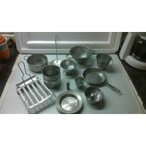 Juguete Antiguo Bateria De Cocina De Metal, Aluminio