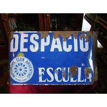 Antiguo Cartel Enlozado Automovil Club Despacio Escuela