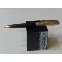 Boligrafo Inoxcrom Sirocco Combinacion Laca Negra Con Plata