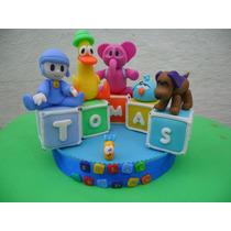 Centro Torta Infantil Pocoyo En Porcelana Fría!