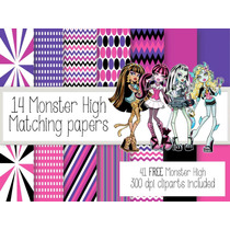 Kit Imprimible Monster High 41 Clipart - 14 Fondos.