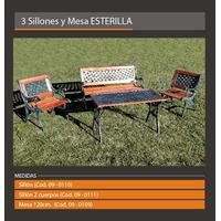 Banco Esterilla 2 Cuerpos Exterior/ Jardin Aluminio Y Madera