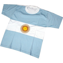Hermosa Remera Argentina Tipo Bandera Con Sol 100% Algodon