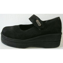 Zapatos Escolares 35 Plataforma Cuero Gamuza Negro (ana.mar)