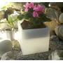 Cubo Maceta Luminosa 25x25 Inalambrico Luz Blanca