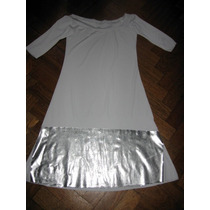 Vestido Blanco Con Guarda Inferior En Color Plata