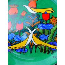 Muy Decorativo Plato Porcelana Firmado Pintado A Mano Retro