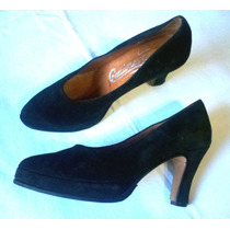 Zapato Negro De Vestir Mujer Cuero/ Gamuza Nuevo!