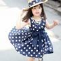Vestido P/ Nena 1-2 Años Azul C/ Lazo Negro Importado Niña