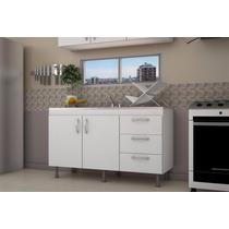 Mueble Bajo Mesada 140 Cm Blanco Roble Cocina 1.40m Laqueado