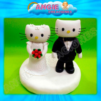Kitty Novios Porcelana Fria Adorno Torta Casamiento Boda