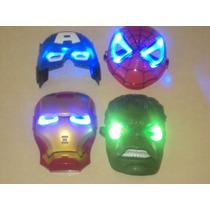 Mascara Con Luz Del Hombre Araña, Iron Man, Capitán América.
