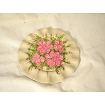 Plato Platito Decorativo Ceramica Con Flores Pintado A Mano