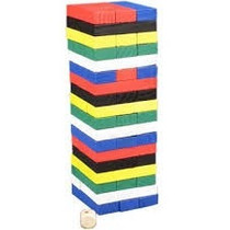 Jenga Mini Yenga De Colores De Madera 54 Piezas + Dado