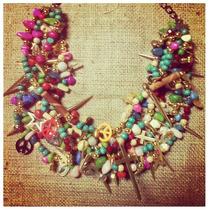 Collares Cargados Estilo Mechi Garay Moda 2014 Colores Corto