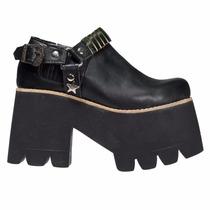 Zapatos Mujer Plataforma Altos Cuero Negro Comodos