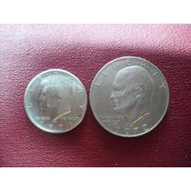 Eeuu Dos Monedas Halff Dollar Y One Dollar 1971 Y 72