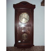 Antiguo Reloj De Pared Caja De Roble Oscuro Y Vitroux