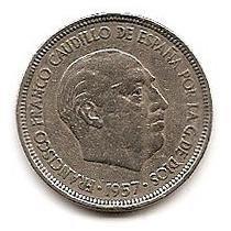 España Moneda De Niquel De 5 Pesetas Año 1957(58)