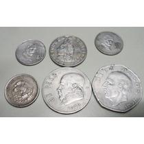 Lote De 6 Monedas Mexico 1 ,10 Peso 20,5,y 50 Centavis