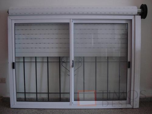 Ventana aluminio 150x110 con vidrio persiana reja for Ventanas con persianas incorporadas