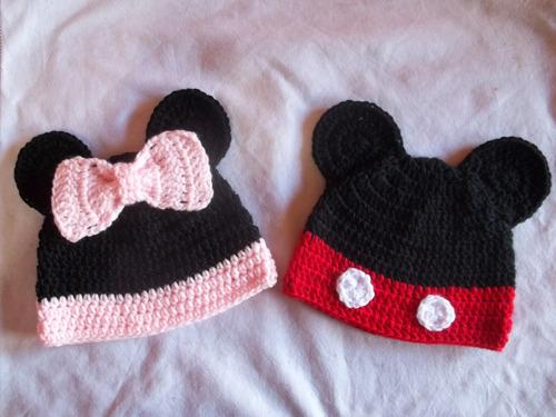 Gorros De Minnie Mickey Para Bebe Chicos Tejido Crochet En Venta En